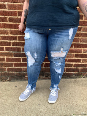 RESTOCKED-Womens Plus Size Distressed Stretch Skinny Denim Jogger With Drawstrings - Blue