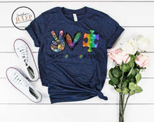 Load image into Gallery viewer, Peace Love Autism Rainbow Puzzle SS Boutique Tee - Custom Printed Preorder Tees