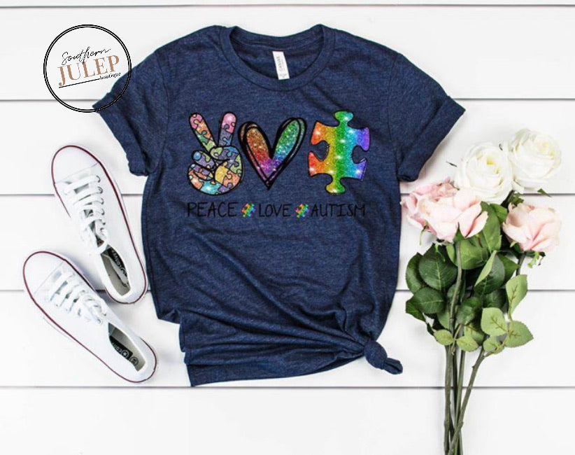 Peace Love Autism Rainbow Puzzle SS Boutique Tee - Custom Printed Preorder Tees