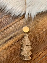 Load image into Gallery viewer, 4-Tier Tassel Drop Necklace - Light Brown