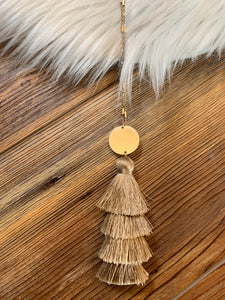 4-Tier Tassel Drop Necklace - Light Brown