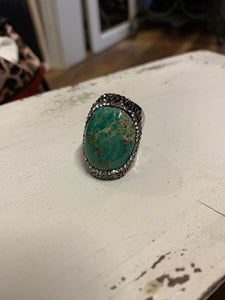 Turquoise Green Boho Hammered Metal Ring