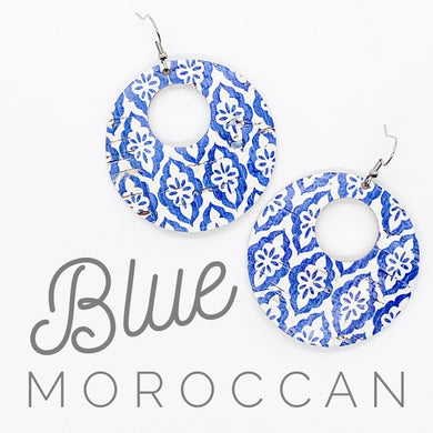 Handmade Blue Moroccan Cork/Leather Earrings