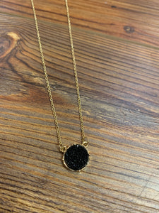 Dainty Druzy Circle Necklace - Black