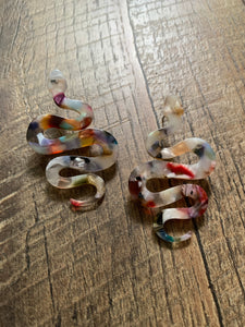 Resin Snake Post Earrings - Multicolored