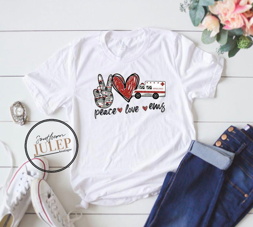 Peace Love EMS SS Boutique Tee - Custom Printed Preorder Tees