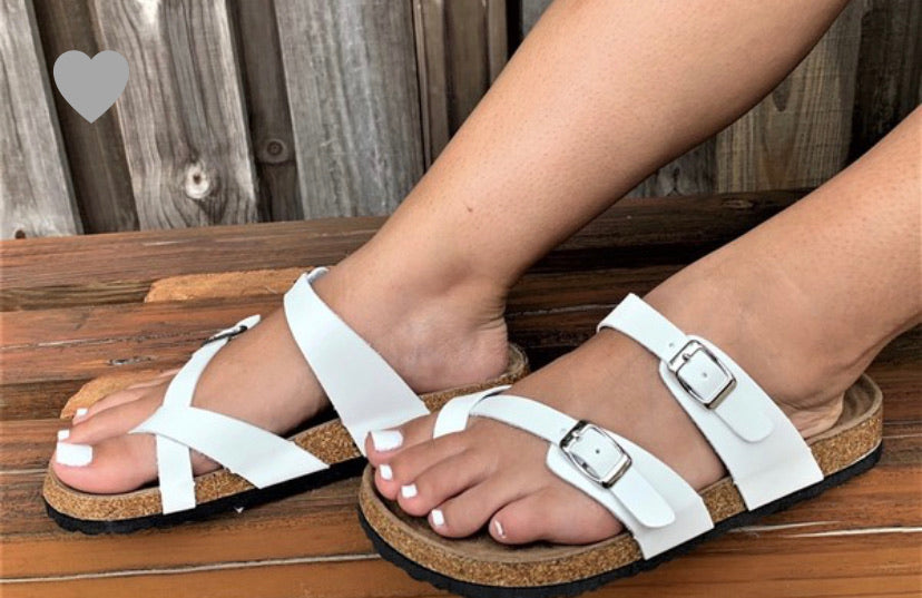 White Birk Style Double Buckle Sandals - In Stock Now