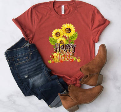 PREORDER - Happy Fall Sunflower Basket Boutique Soft Tee