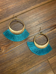Large Open Hoop Fringe Tassel Earrings - Turquoise