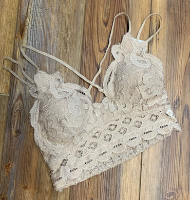 Kiss & Tell Lace Bralette - Light Taupe