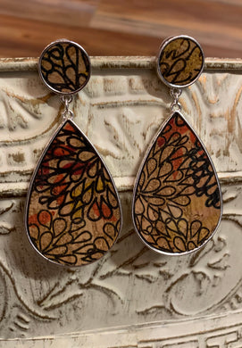 Cork Floral Pattern Teardrop Dangle Earrings - Multi