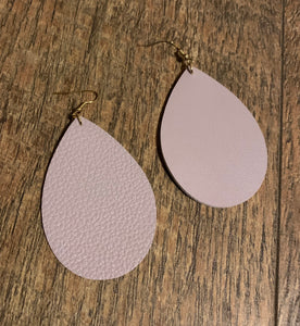 Faux Leather Teardrop Statement Earrings - New Lavender