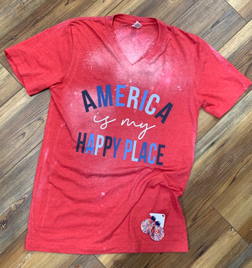 America is My Happy Place Bleached V-Neck Soft Tee