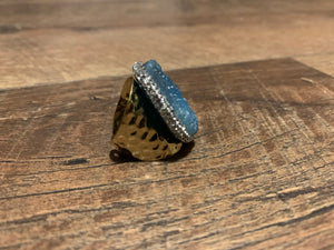 Blue Druzy & Rhinestone Accents Boho Hammered Gold Ring