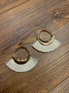 Open Hoop Fringe Tassel Earrings - Ivory