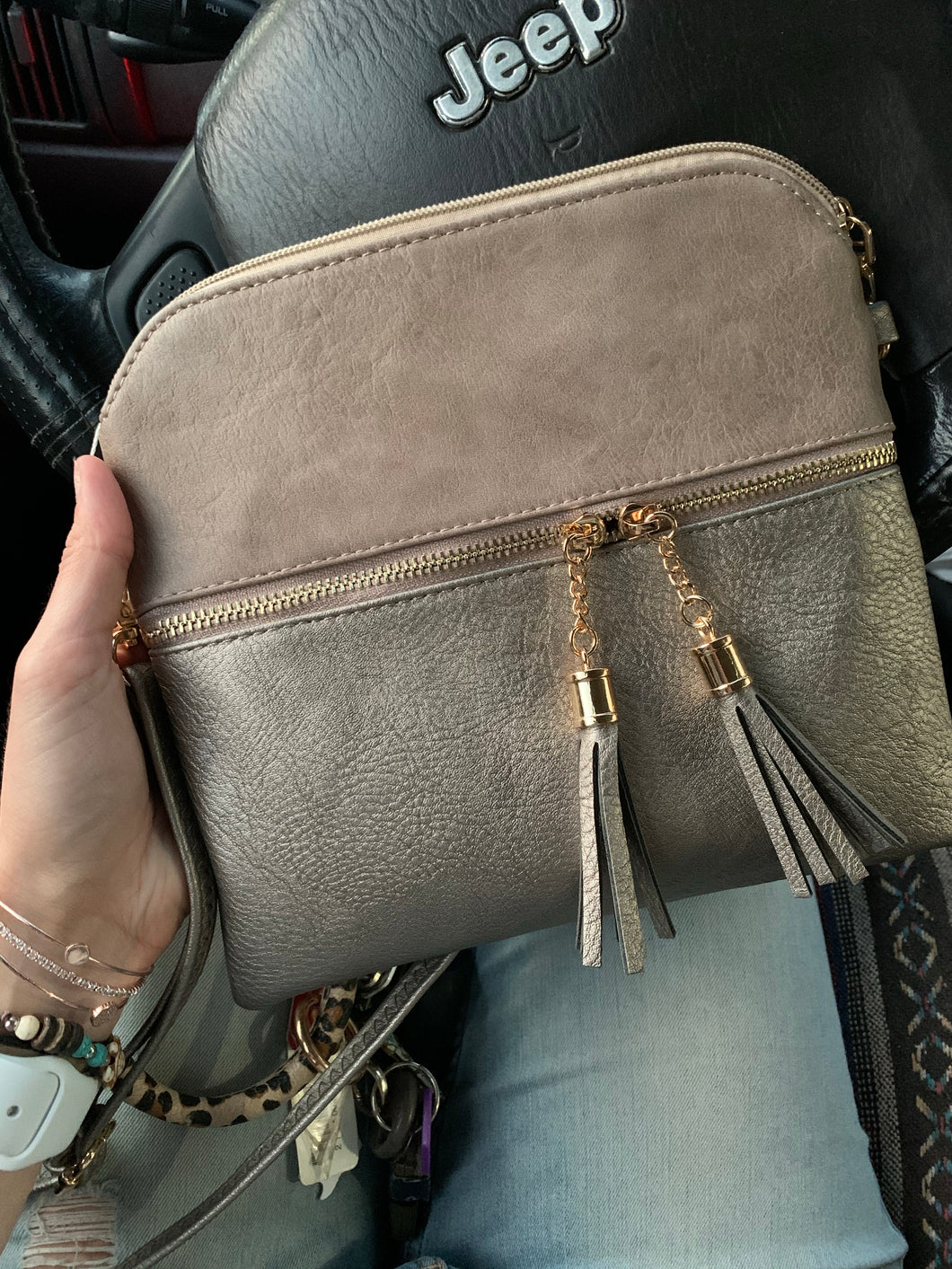 Tara Tassel Vegan Leather Crossbody Bag - Pewter/Stone