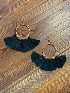 Open Hoop Fringe Tassel Earrings - Deep Teal