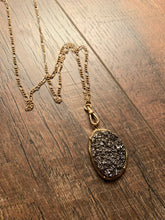 Load image into Gallery viewer, Hematite Druzy Pendant Necklace