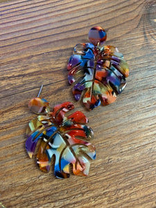 Multicolored Palm Leaves Earrings