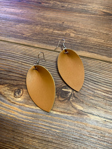 Faux Leather Leaf Teardrop Earrings - Camel