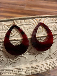 Large Acetate Open Teardrop Earrings - Red