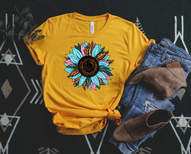 PREORDER - Turquoise Glitter Leopard Sunflower Boutique Soft Tee