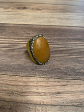 Load image into Gallery viewer, Boho Hammered Gold Metal Stone Ring - Light Rust