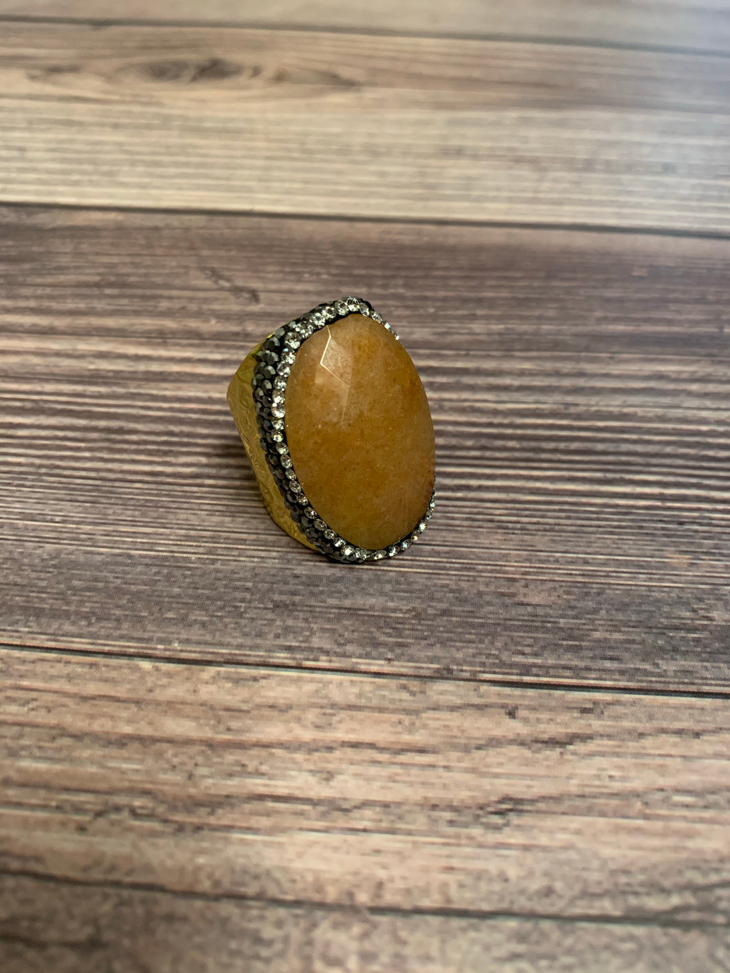 Boho Hammered Gold Metal Stone Ring - Light Rust