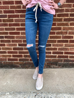 REORDERED- Womens Distressed Knee Skinny Stretch Denim Jogger With Drawstrings - Blue