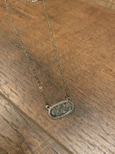 Load image into Gallery viewer, Dainty Oval Druzy Pendant Necklace & Earring Set - Silver & Hematite