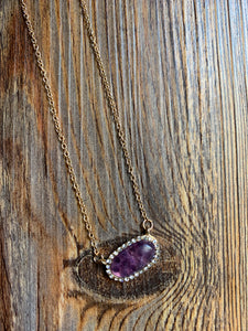 Stone Inspired Dainty Necklace - Purple