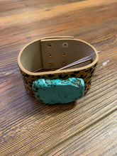 Load image into Gallery viewer, Semi Precious Stone Leopard Faux Fur Cuff Bracelet - Turquoise