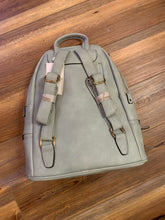 Load image into Gallery viewer, The Blake Vegan Leather Triple Zip Pocket Backpack - Seafoam - Monogrammable