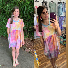 Load image into Gallery viewer, Tie Dye Pocketed Summer Babydoll Dress - USA Made - Orange/Purple/Blue