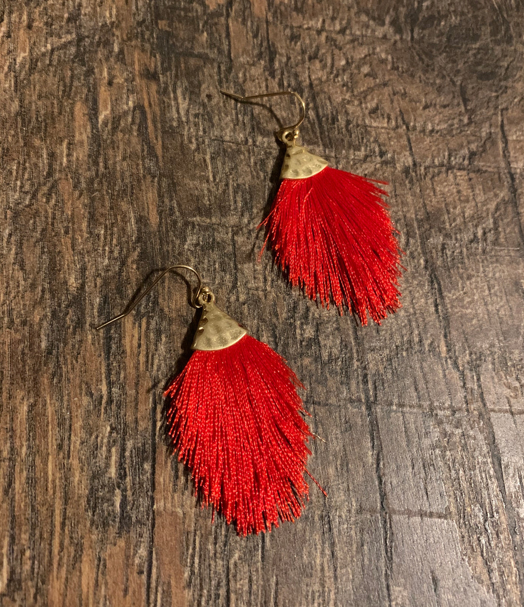 Feathered Fringe Drop Earrings - Red