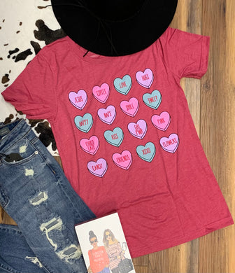 Conversation Hearts Valentine's Day Boutique Soft Tee