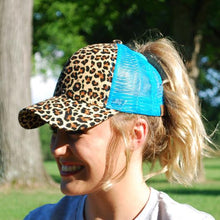 Load image into Gallery viewer, C.C Leopard Pony Cap - Trucker Baseball Ponytail Hat - Asst. Colors