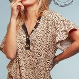 Taupe Leopard Print Button Down Blouse w/ Ruffled Bell Sleeves  - USA MADE