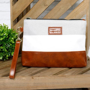 Madi Wristlet/Clutch Collection - Grey & White Stripe with Vegan Leather Bottom