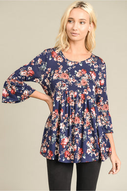 Navy Floral Ruffled 3/4 Sleeve Babydoll Top - Made In USA