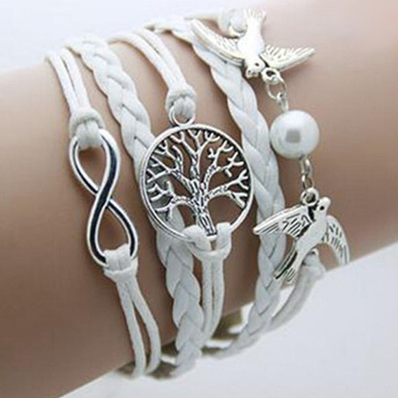 Double Birds Pearl Infinity Tree Bracelet