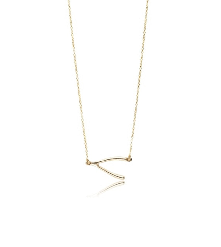 Wishbone Gold Necklace