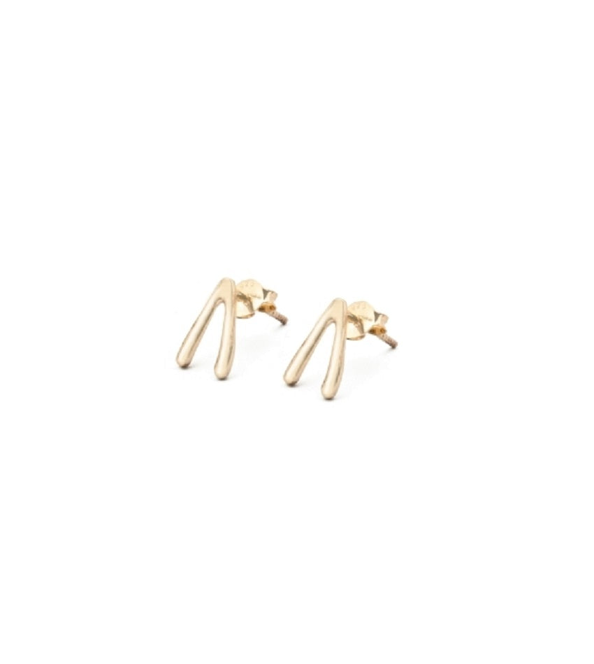 Wishbone Gold Earrings