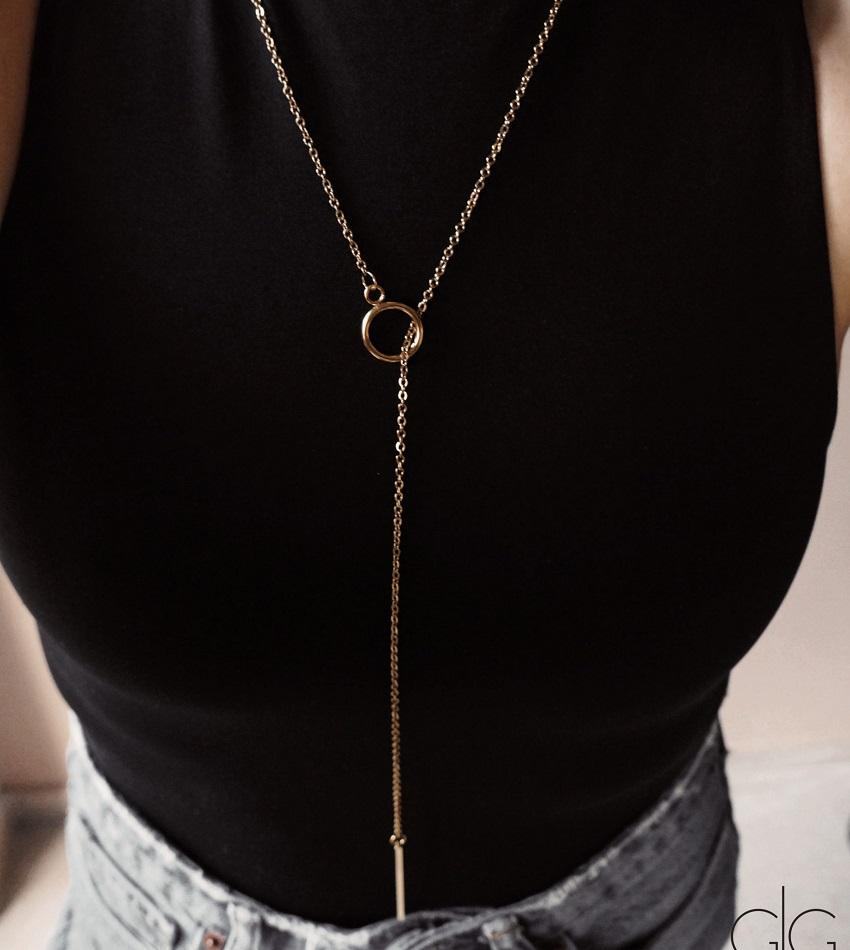Minimal necklace with gold small plated circle