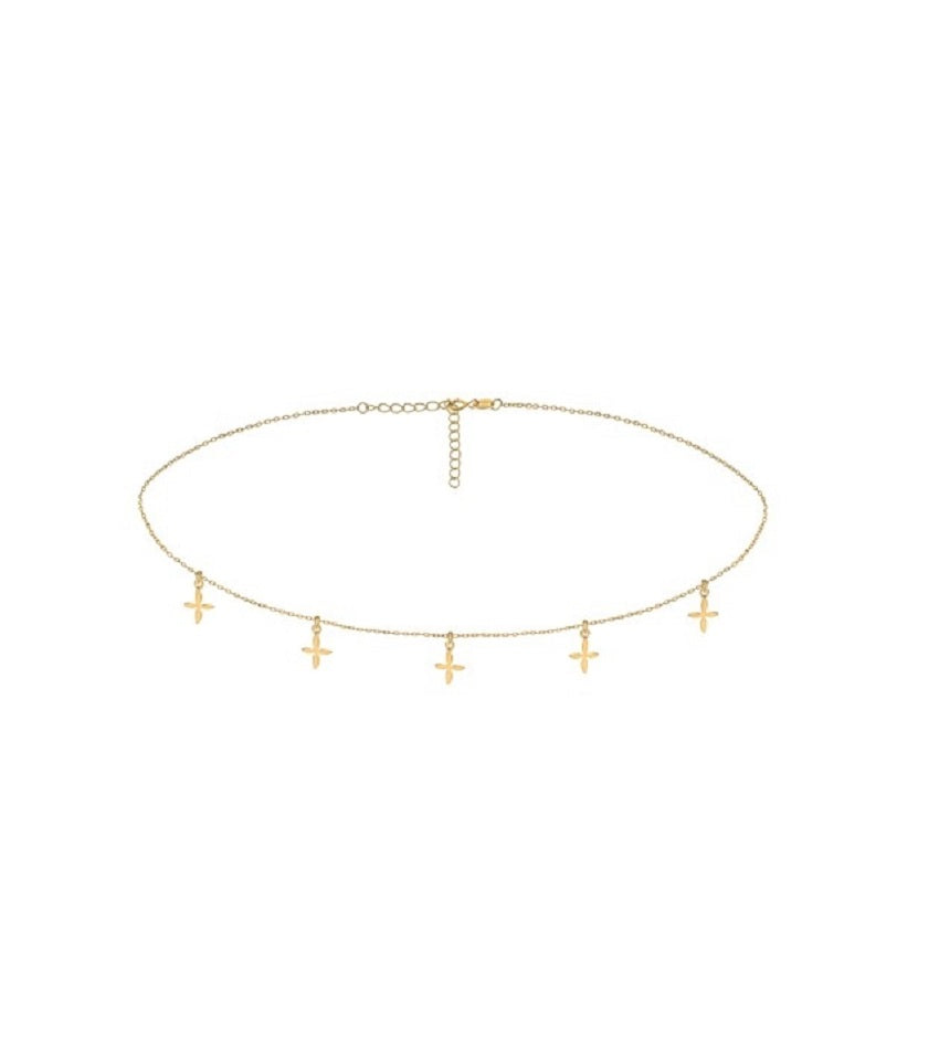 Cross Gold Chocker