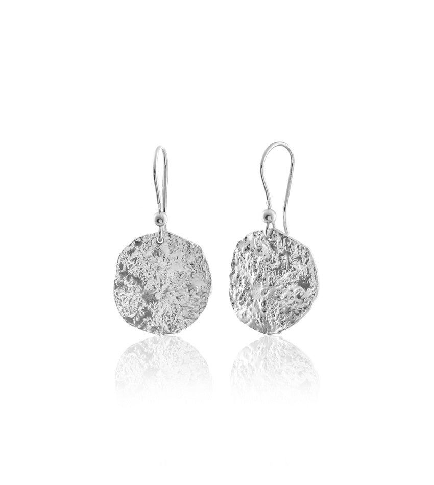 Textured Coin Silver Earrings