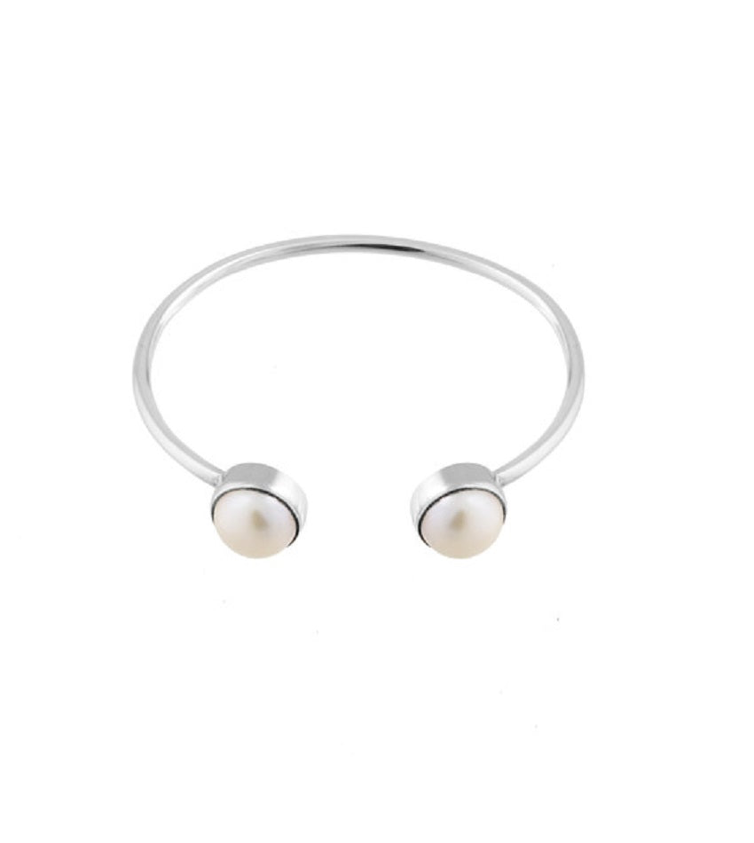 Pearls Bangle Silver Bracelet