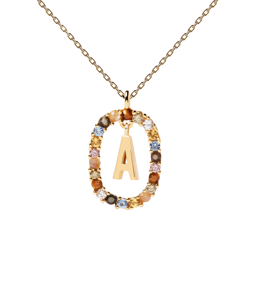 Letter A Necklace Gold