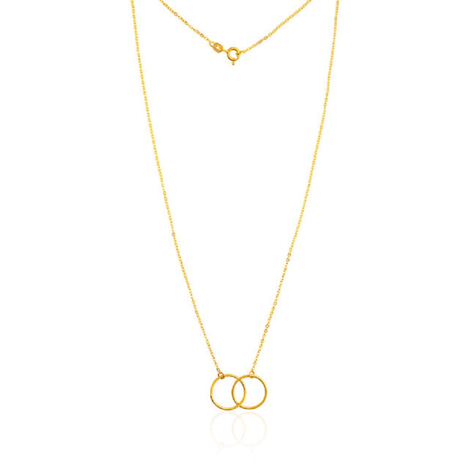 Double Circle Necklace Gold