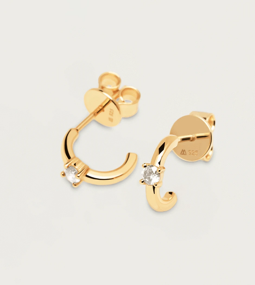 White Solitary Earrings Gold